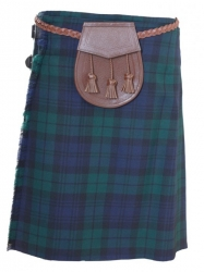 Black watch Kilt, brown leather sporran